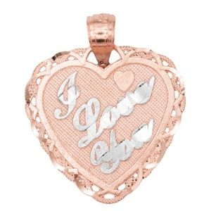 14k Solid Rose Gold Heart Pendant